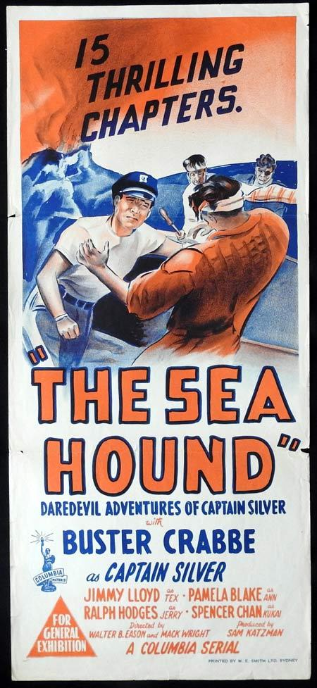 THE SEA HOUND Original daybill Movie Poster Buster Crabbe Jimmy Lloyd Pamela Blake