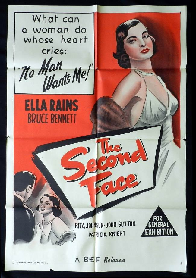THE SECOND FACE One sheet Movie poster Ella Raines