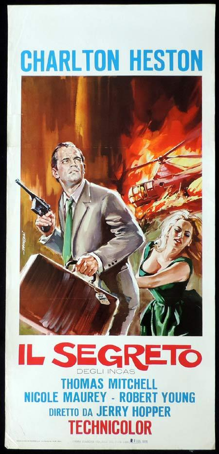SECRET OF THE INCAS Italian Locandina Movie Poster Charlton Heston