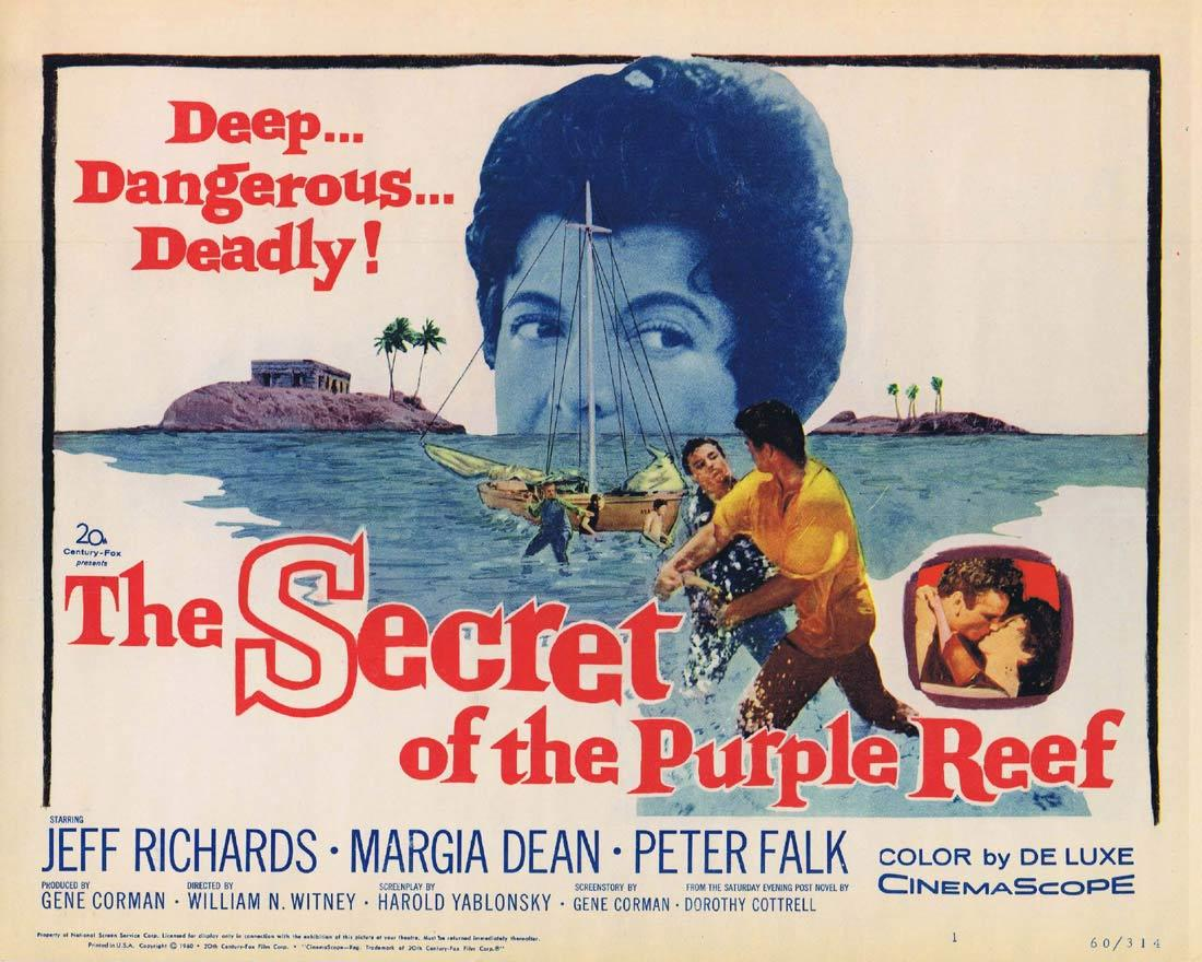 THE SECRET OF THE PURPLE REEF Title Lobby Card Richard Chamberlain Peter Falk Robert Earl Jones