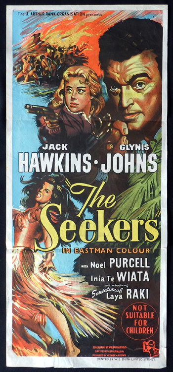 THE SEEKERS aka LAND OF FURY 1958 Daybill Movie Poster NEW ZEALAND CINEMA