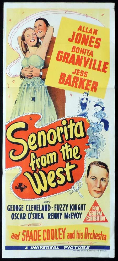 SENORITA FROM THE WEST Original Daybill Movie Poster Bonita Granville Allan Jones