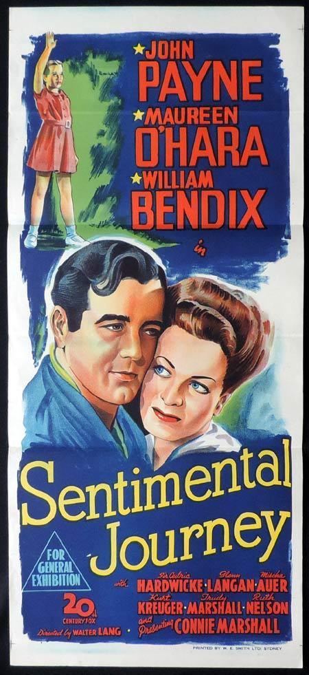 SENTIMENTAL JOURNEY Original Daybill Movie Poster Maureen O'Hara John Payne