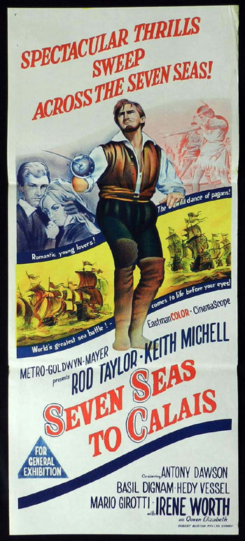 SEVEN SEAS TO CALAIS 1962 Rod Taylor Australian Daybill Movie Poster