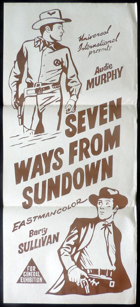"SEVEN WAYS FROM SUNDOWN Original Daybill Movie poster Audie Murphy ""B"""