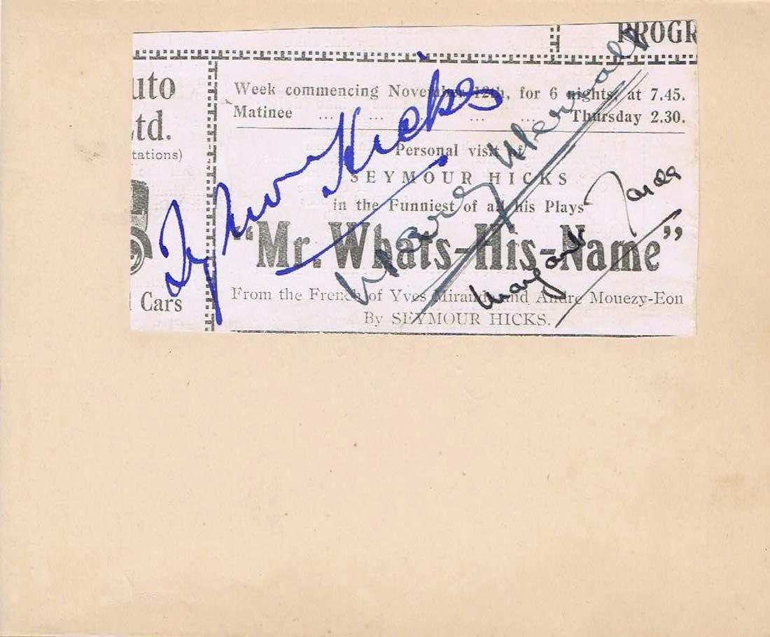 MR WHATS HIS NAME English Stage Play Cast Autographs Seymour Hicks