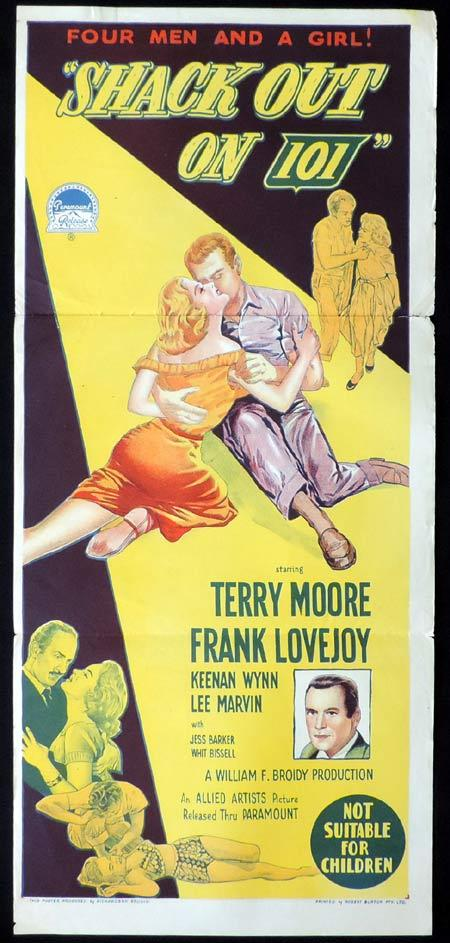 SHACK OUT ON 101 Original Daybill Movie Poster TERRY MOORE Frank Lovejoy Richardson Studio