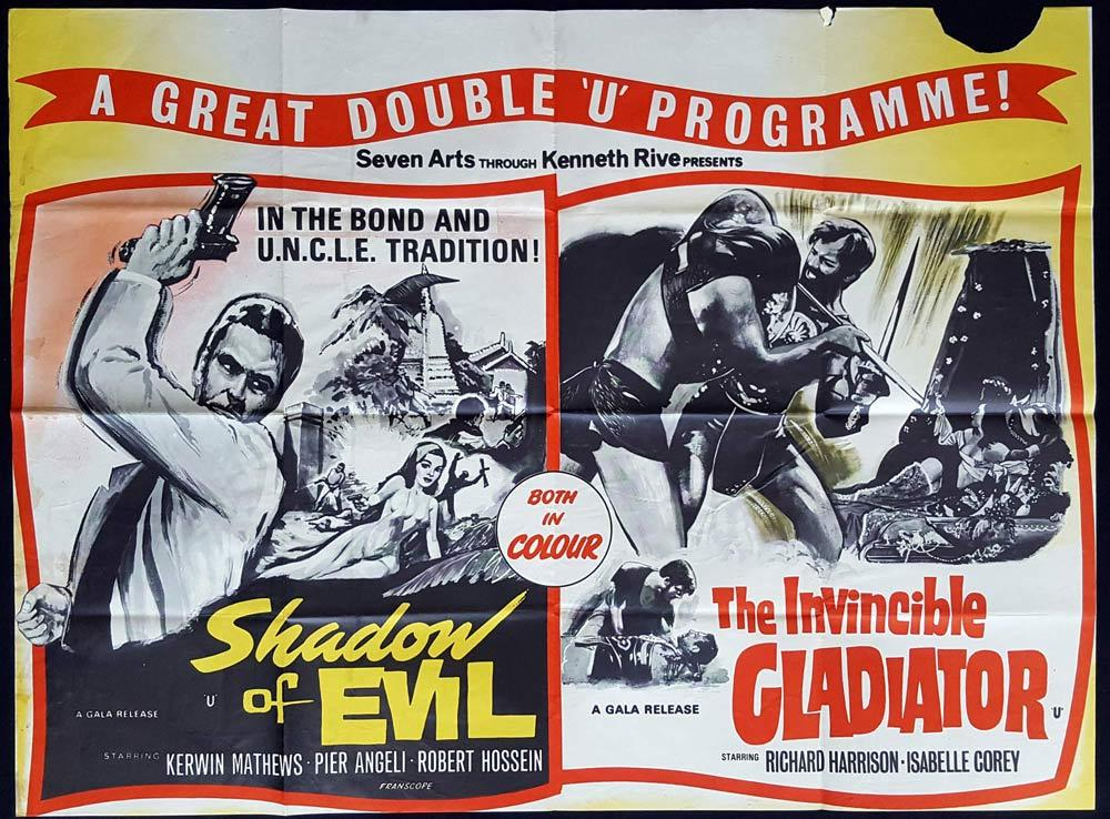 SHADOW OF EVIL plus THE INVINCIBLE GLADIATOR Double Bill British Quad Movie poster