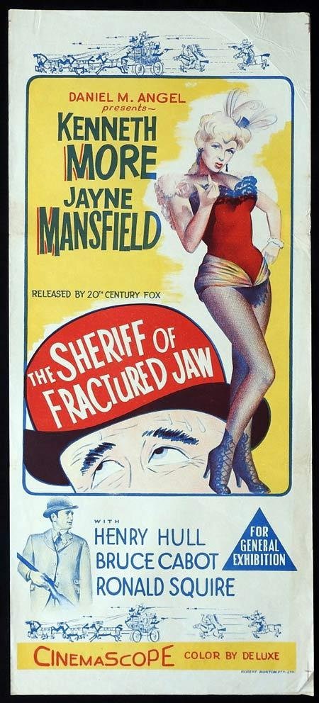 THE SHERIFF OF FRACTURED JAW Original daybill Movie Poster Kenneth More Jayne Mansfield Henry Hull