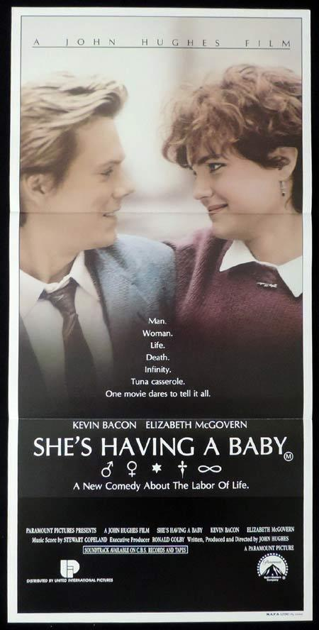SHE'S HAVING A BABY Original Daybill Movie Poster Elizabeth McGovern Kevin Bacon