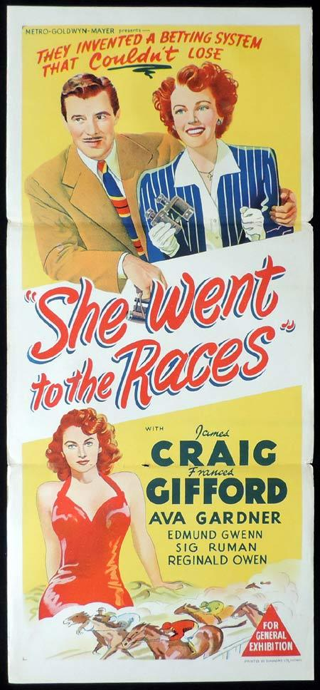 SHE WENT TO THE RACES Original Daybill Movie Poster Ava Gardner James Craig