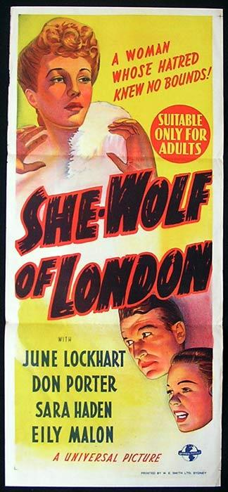 SHE WOLF OF LONDON Original Daybill Movie Poster Universal Horror June Lockhart She-Wolf