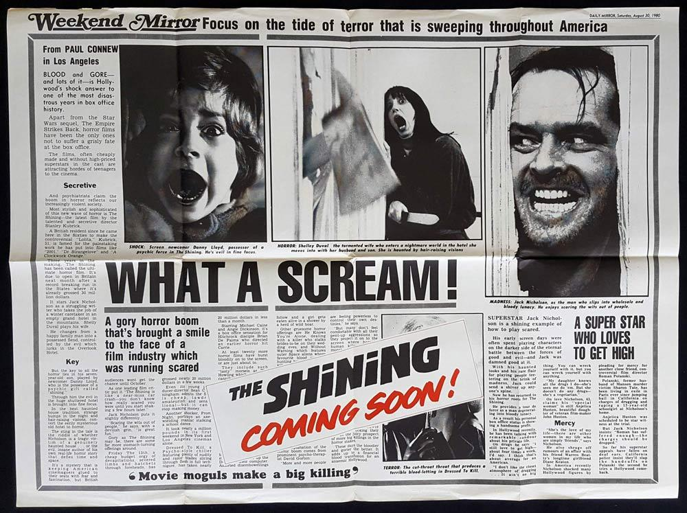 THE SHINING Original British Quad Movie poster NEWSPAPER Jack Nicholson