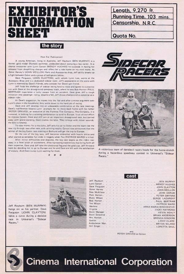 SIDECAR RACERS Movie Press Sheet Wendy Hughes Bathurst