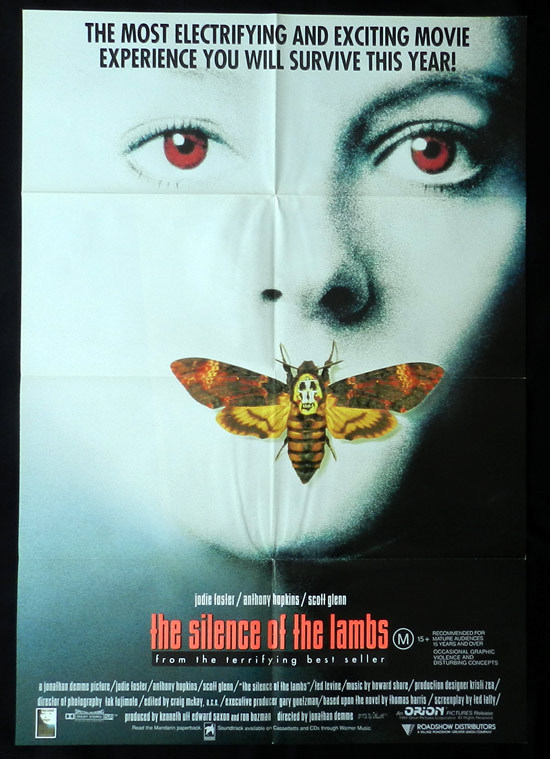 SILENCE OF THE LAMBS One Sheet Movie poster Anthony Hopkins as Hannibal Lecter