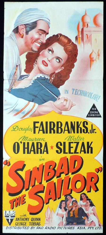 SINBAD THE SAILOR Original Daybill Movie Poster RKO Douglas Fairbanks Jr.