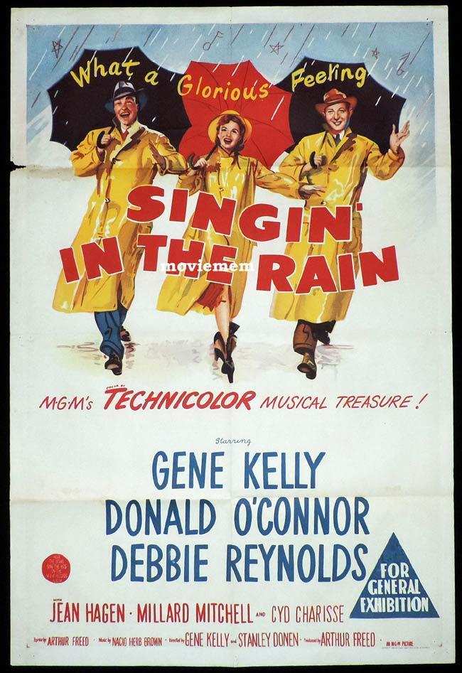 SINGIN IN THE RAIN Original One sheet Movie Poster DEBBIE REYNOLDS Gene Kelly
