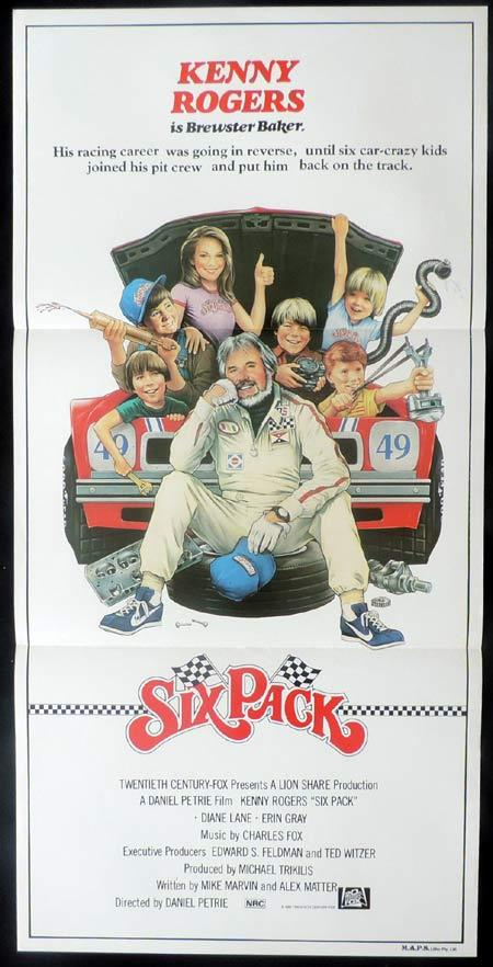 SIX PACK Original Daybill Movie Poster Diane Lane Kenny Rogers