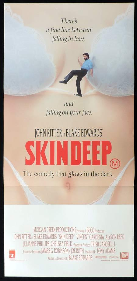 SKIN DEEP Daybill Movie poster John Ritter Blake Edwards
