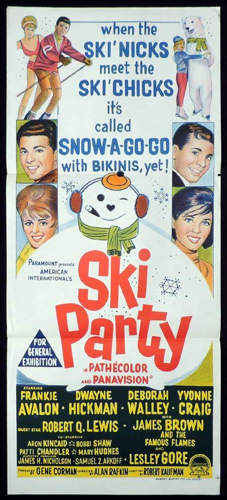 SKI PARTY Original Daybill Movie Poster Frankie Avalon Snow Ski