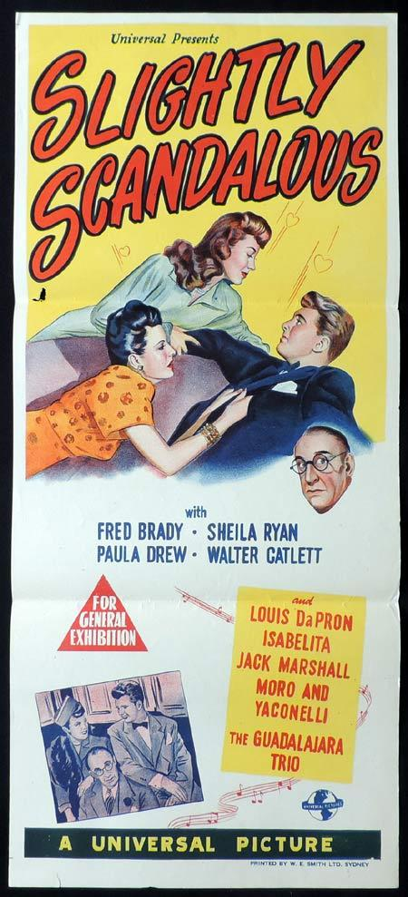 SLIGHTLY SCANDALOUS Original Daybill Movie Poster 1946 Fred Brady Sheila Ryan Universal Pictures