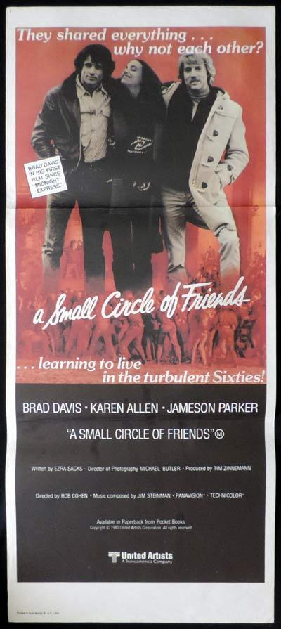 A Small Circle of Friends, Rob Cohen, Brad Davis, Karen Allen, Jameson Parker, Shelley Long, Nan Martin, Daniel Stern, John Friedrich, Gary Springer, Harry Caesar, Craig Richard Nelson