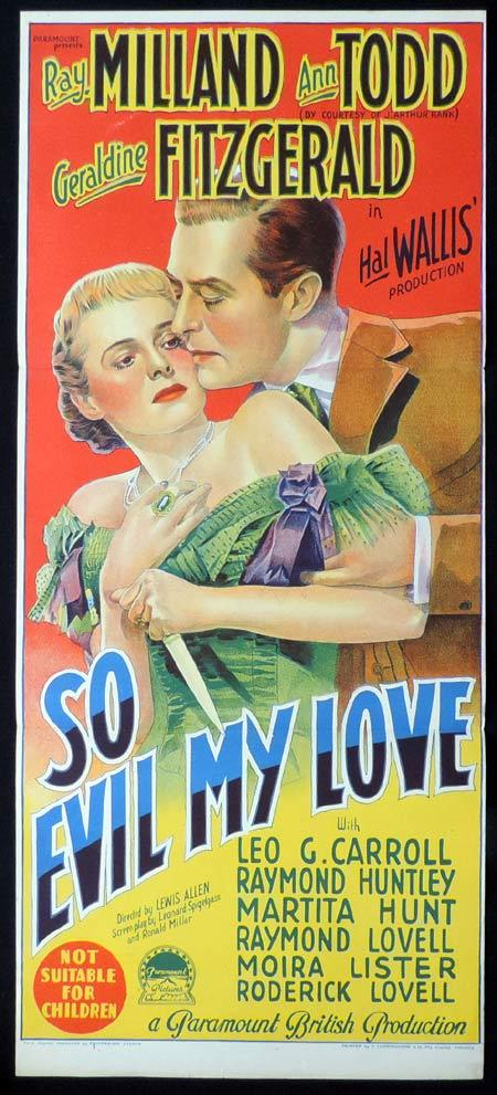 SO EVIL MY LOVE Original Daybill Movie Poster RAY MILLAND Ann Todd Richardson Studio