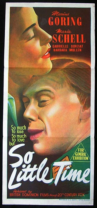 SO LITTLE TIME Movie Poster 1952 Marius Goring daybill
