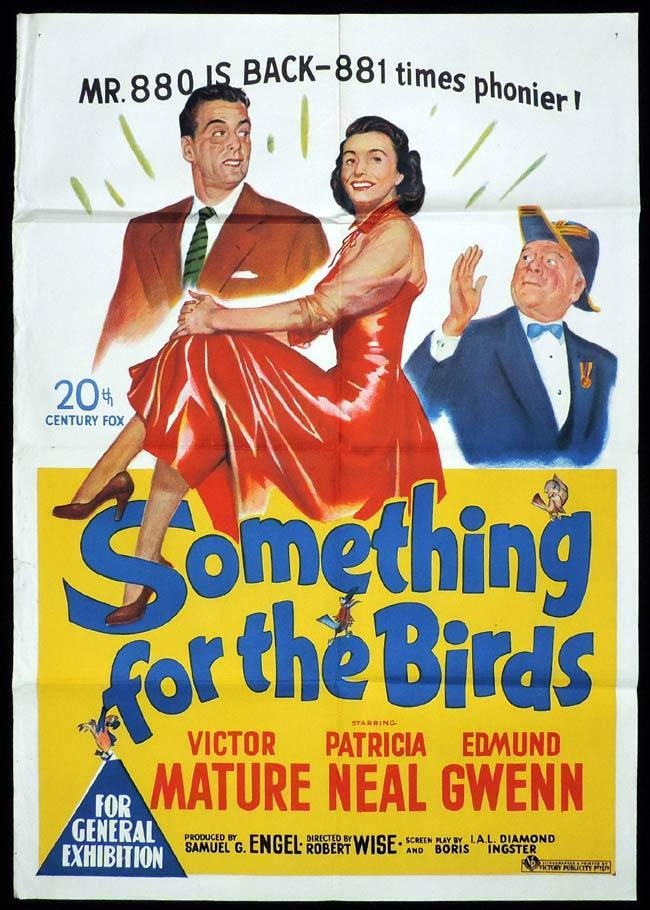SOMETHING FOR THE BIRDS Original One sheet Movie Poster Victor Mature Paricia Neal Edmund Gwenn