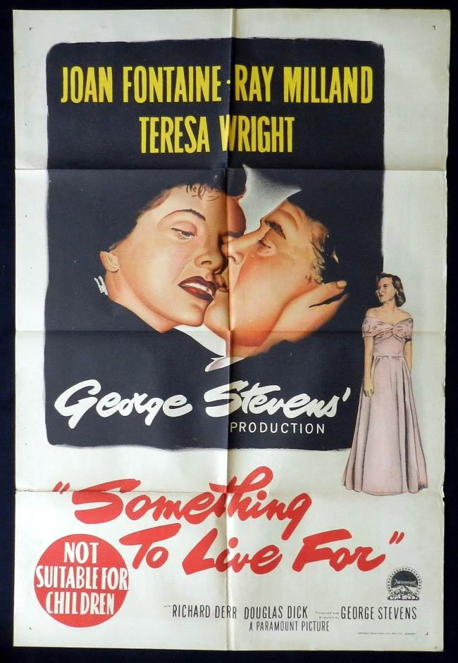 SOMETHING TO LIVE FOR One sheet Movie poster Joan Fontaine Ray Milland