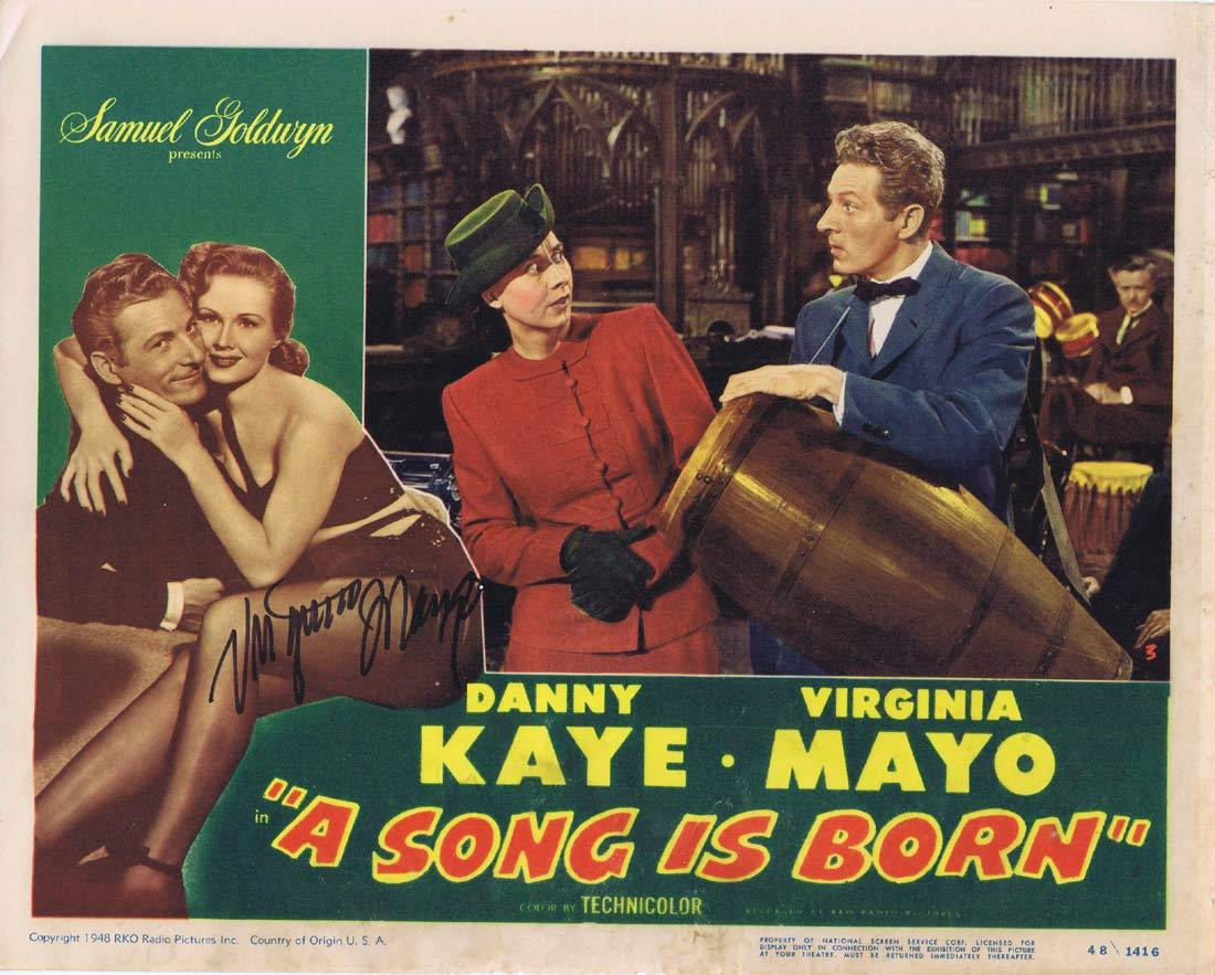 A SONG IS BORN Original Lobby Card AUTOGRAPHED By Virginia Mayo
