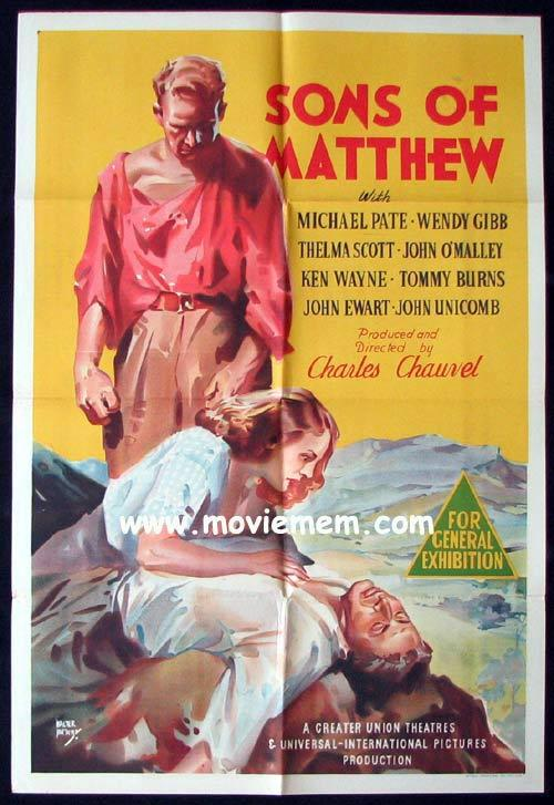 SONS OF MATTHEW Movie Poster 1949 Charles Chauvel RARE ORIGINAL one sheet