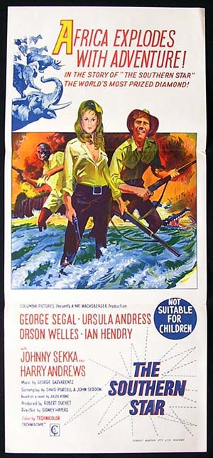 SOUTHERN STAR Movie Poster 1969 Ursula Andress Africa daybill
