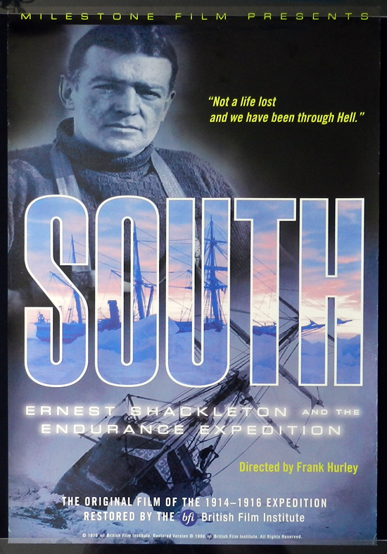 SOUTH 1998r Frank Hurley 1sh Movie poster Shackleton & ship trapped in Antarctic ice