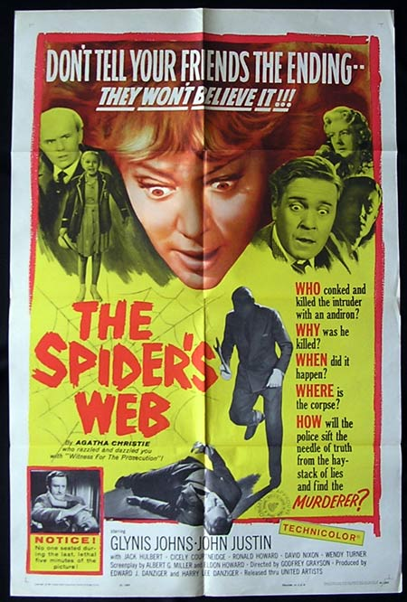THE SPIDERS WEB '61-Glynis Johns-AGATHA CHRISTIE Original US One sheet poster