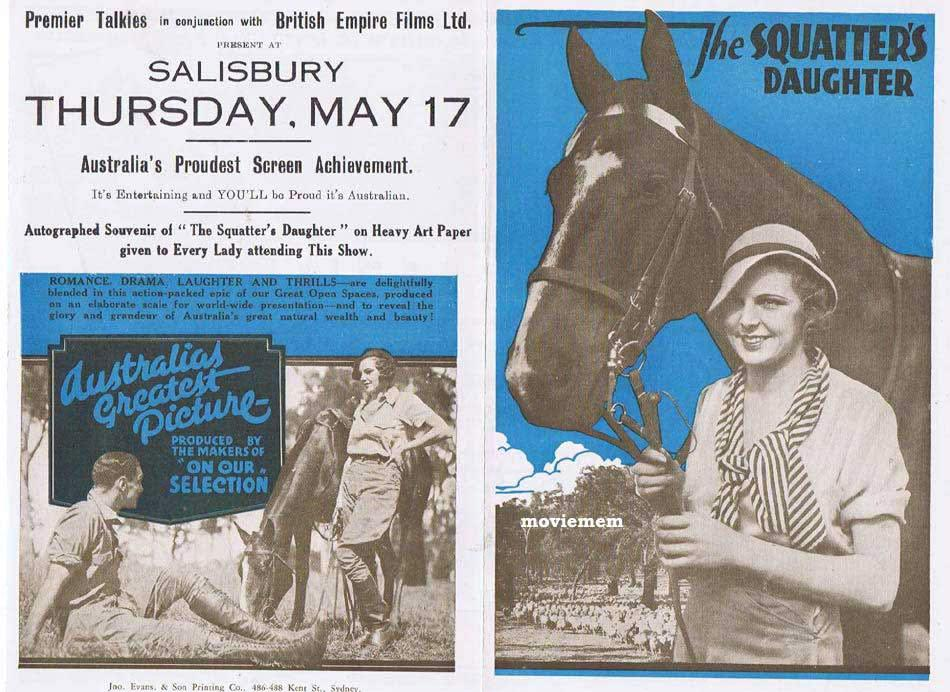 THE SQUATTERS DAUGHTER Original Vintage Movie Herald 1933 Australian Cinema Classic RARE