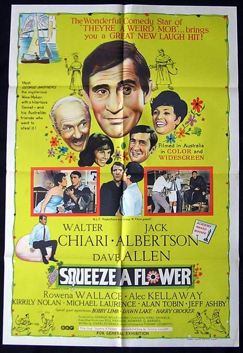 SQUEEZE A FLOWER 1970 Walter Chiari Australian one sheet Movie poster