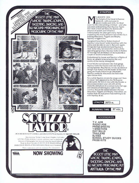 SQUIZZY TAYLOR Rare AUSTRALIAN Movie Press Sheet