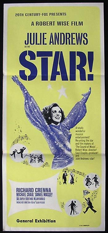 STAR Movie Poster 1968 Julie Andrews RARE daybill