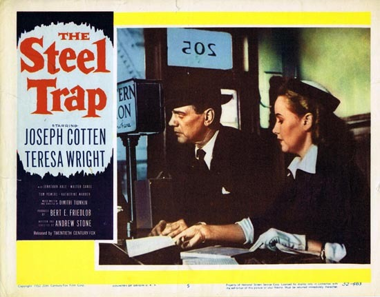 THE STEEL TRAP Lobby card 1952 Joseph Cotton Theresa Wright 5