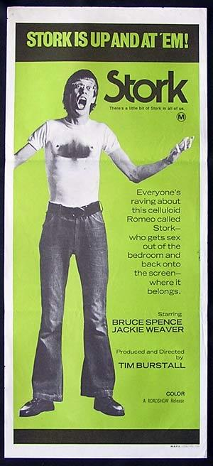 STORK 1971 Bruce Spence TIM BURSTALL Rare Daybill Movie poster