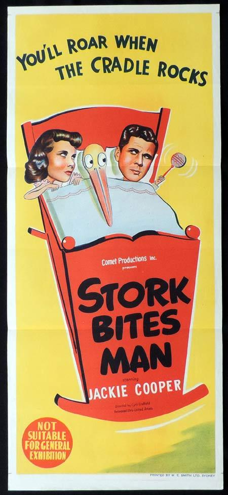 STORK BITES MAN Original Daybill Movie Poster 1949 Jackie Cooper