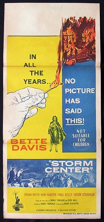 STORM CENTER 1956 Bette Davis RARE Daybill Movie Poster