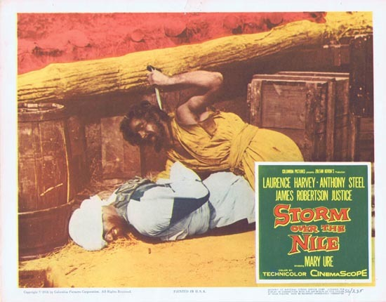 STORM OVER THE NILE Lobby card 5 1956 Anthony Steel Laurence Harvey