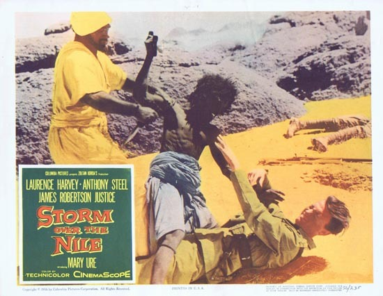 STORM OVER THE NILE Lobby card 7 1956 Anthony Steel Laurence Harvey
