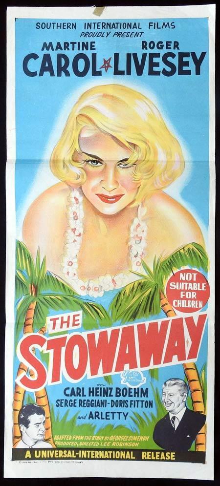 THE STOWAWAY Original Daybill Movie Poster Martine Carol Roger Livesey