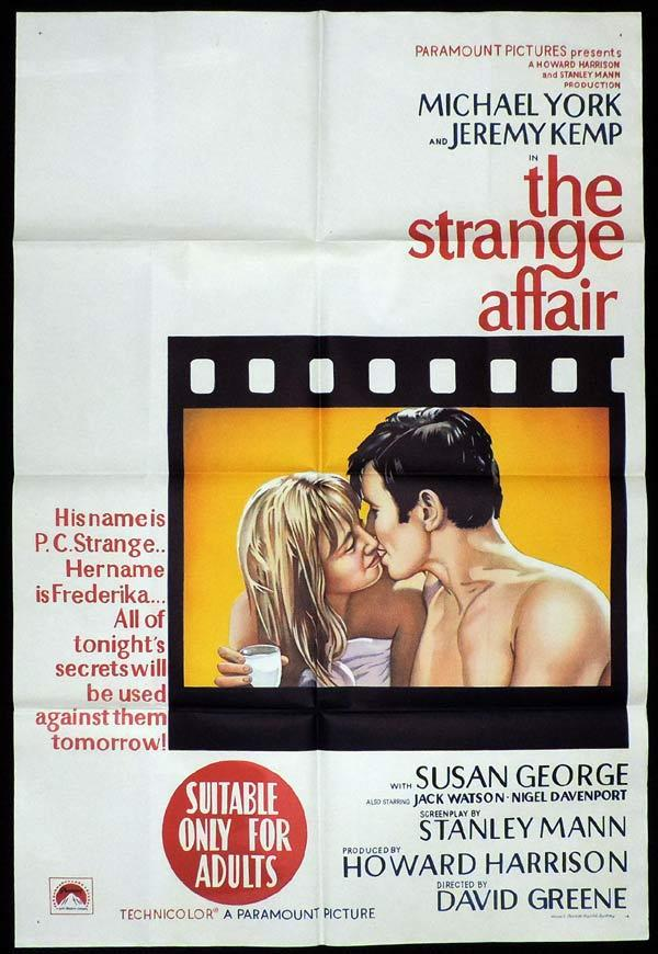 THE STRANGE AFFAIR One Sheet Movie Poster Michael York Susan George