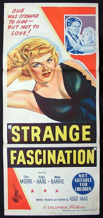STRANGE FASCINATION 1952 Cleo Moore FILM NOIR Daybill Movie Poster