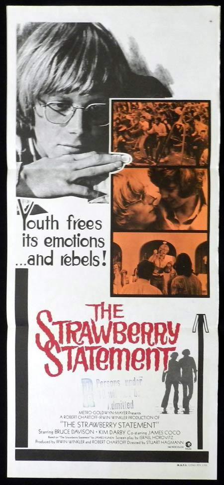 THE STRAWBERRY STATEMENT Original Daybill Movie Poster Bruce Davison Kim Darby Bud Cort