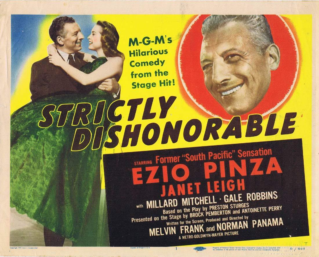 STRICTLY DISHONORABLE 1951 Ezio Pinza Title Lobby card